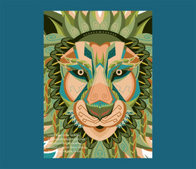 shape of lion head combined with colourful electronic board, concept of powerful technology - Vector