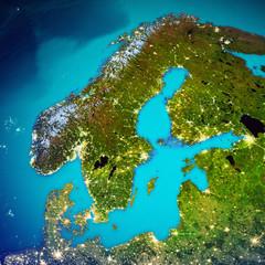 Wall Mural - Scandinavia space map