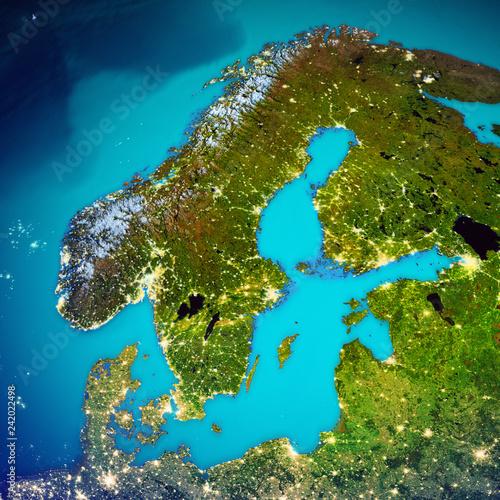 Wall mural Scandinavia space map