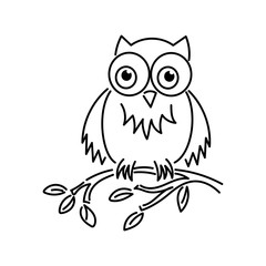 Cute and funny owl. Vector illustration. Outline
