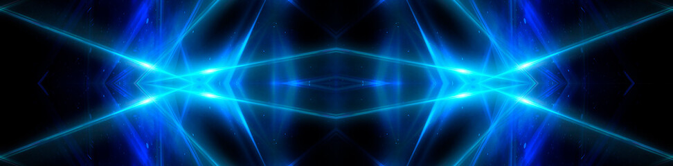 Blue background, abstraction, neon rays, lines