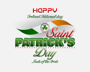 Holiday design, background with 3d texts, clover and national flag colors for St. Patrick's day celebration, Ireland national day; Vector illustration