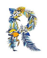 Vector illustration Tropical floral summer letter R hand drawn