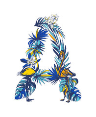 Vector illustration Tropical floral summer letter A hand drawn