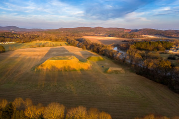 Aerial view of Etowah Indian Mounds Historic Site in Cartersville Georgia