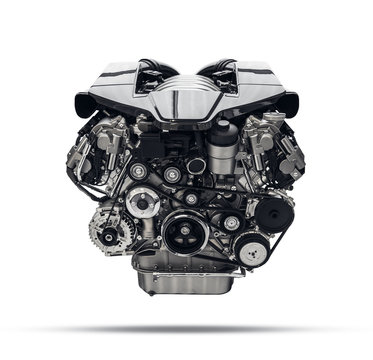 Car engine. Concept of modern car engine isolated ,  parts  / components detailed.