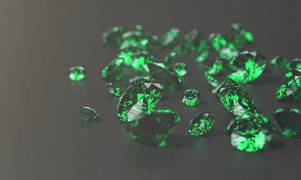Green Diamond Group In Dark Background, 3d illustration.