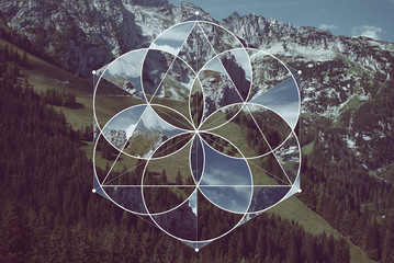 Geometric collage with the mountains and sacred geometry Fototapete