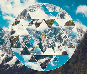 Collage with the mountains landscape and the sacred geometry symbol shri yantra