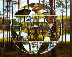 Geometric collage with the lake and nordic forest, sacred geometry