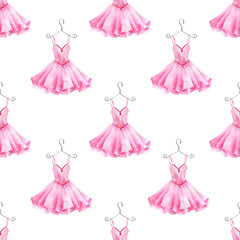 Watercolor hand painted seamless pattern of ballet dress.