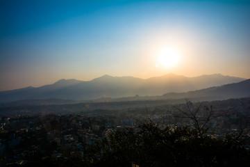 The romantic sunset view from Swayambhunath Stupa of Kathmandu. Taken in Nepal, January 2019.