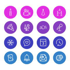 Vector illustration of 16 event icons line style. Editable set of candy, night club, mic icon elements.