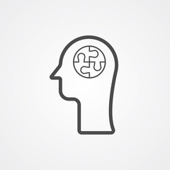 Head with puzzle vector icon sign symbol