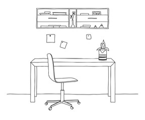 Sketch the room. Office chair, desk, various objects on the table. Sketch workspace. Vector illustration.