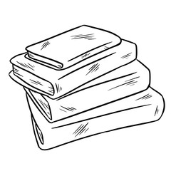 Stack of books sketch sticker doodle. Isolated sketch
