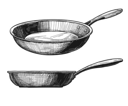 Two skillets isolated on white background. Vector
