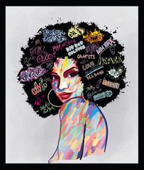 Poster de jardin Art Studio portrait of an afro american woman face