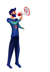 Isolated illustration 3d man character announcing with megaphone isolated. Notice