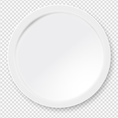 Empty white round paper or plastic plate with soft shadow is on squared background. Vector illustration