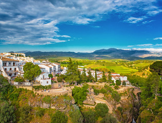 View on the old town of Ronda in Malaga, Spain