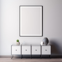 Interior of living room with white wall, 3D Rendering