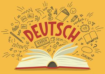 "Deutsch. Translation: ""German"". German language hand drawn doodles and lettering."
