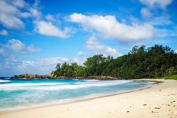 beautiful paradise tropical beach,palms,rocks,white sand,turquoise water, seychelles 7