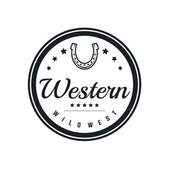 Vintage label with silhouette of Shoe Horse for Country/Western/Cowboy Ranch logo design inspiration. Texas Wild West Theme. Logotype Elements Business Sign Hipster.