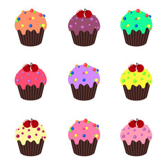 Set of cupcakes. Cake dessert collection with cream. Vector illustration.