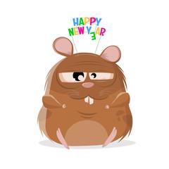 funny cartoon illustration of a happy new year hamster