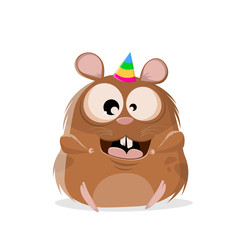 funny cartoon illustration of a happy party hamster