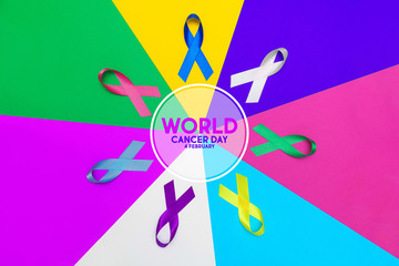 World cancer day concept background. colorful ribbons, cancer awareness