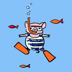 funny pig with an underwater mask and an air snorkel tube