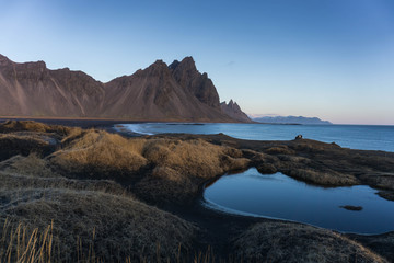 Stokksnes Iceland mountains and black sand beach