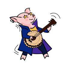 funny vector cartoon rockstar pig with guitar