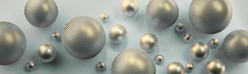 Obraz Srebrne kule 3D na jasnym tle - fototapety do salonu