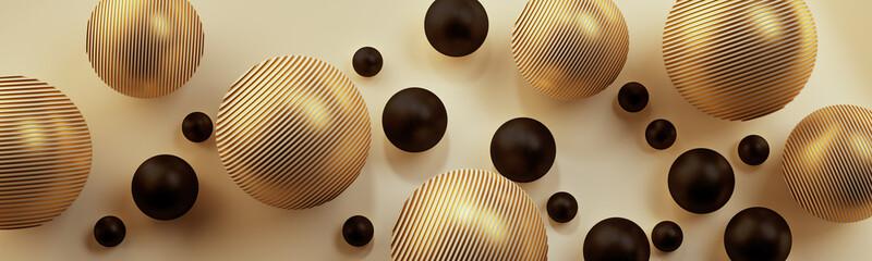 Obraz Złote i czarne kule 3D na jasnym tle - fototapety do salonu