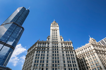 buildings and blue sky in Chicago
