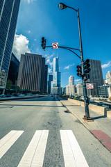 Chicago street in october,