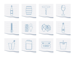 Wine Icons on a piece of paper - Vector Icon Set