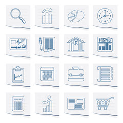 Business and Office  Internet Icons on a piece of paper- Vector Icon Set 3