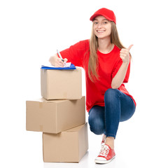 Delivery woman in red uniform holding box package isolated on white background