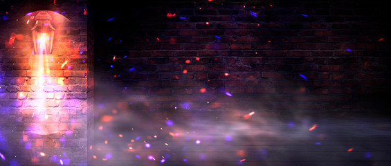 Background of an empty old brick wall. Lantern on the building, night, neon, spotlight, smoke