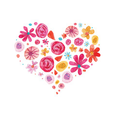 Watercolor Valentine day isolated illustration on white. Hearts and flowers in heart shape composition
