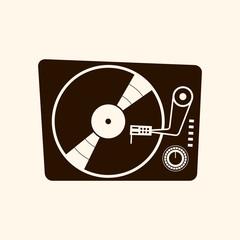 Retro vinyl player 60s vector illustration on light background