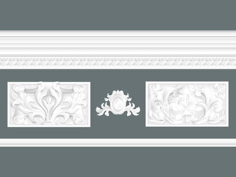 White classic relief and cornice set isolated, architectural elements set