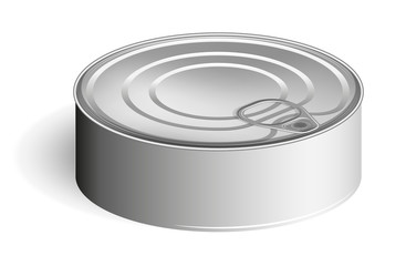 Tin can with a ring. Realistic look. Place for labels and stickers.