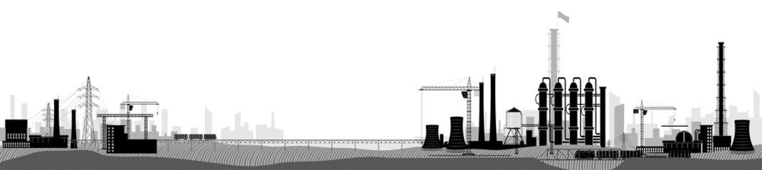 Industrial or factory landscape. Horizontal wide view. Black and white image.