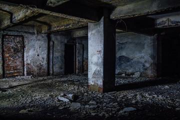 Dark and creepy dirty abandoned underground basement
